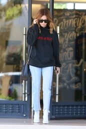 jeans,sweatshirt,ashley tisdale,sunglasses,streetstyle,sweater,top