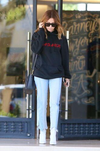 jeans sweatshirt ashley tisdale sunglasses streetstyle sweater top