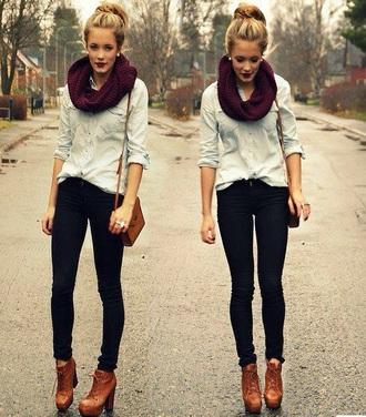 shirt denim shirt style fashion scarf boots autumn