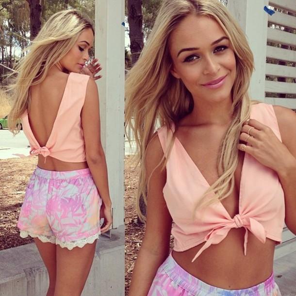 t-shirt top cute cross tie shorts pink peach High waisted shorts