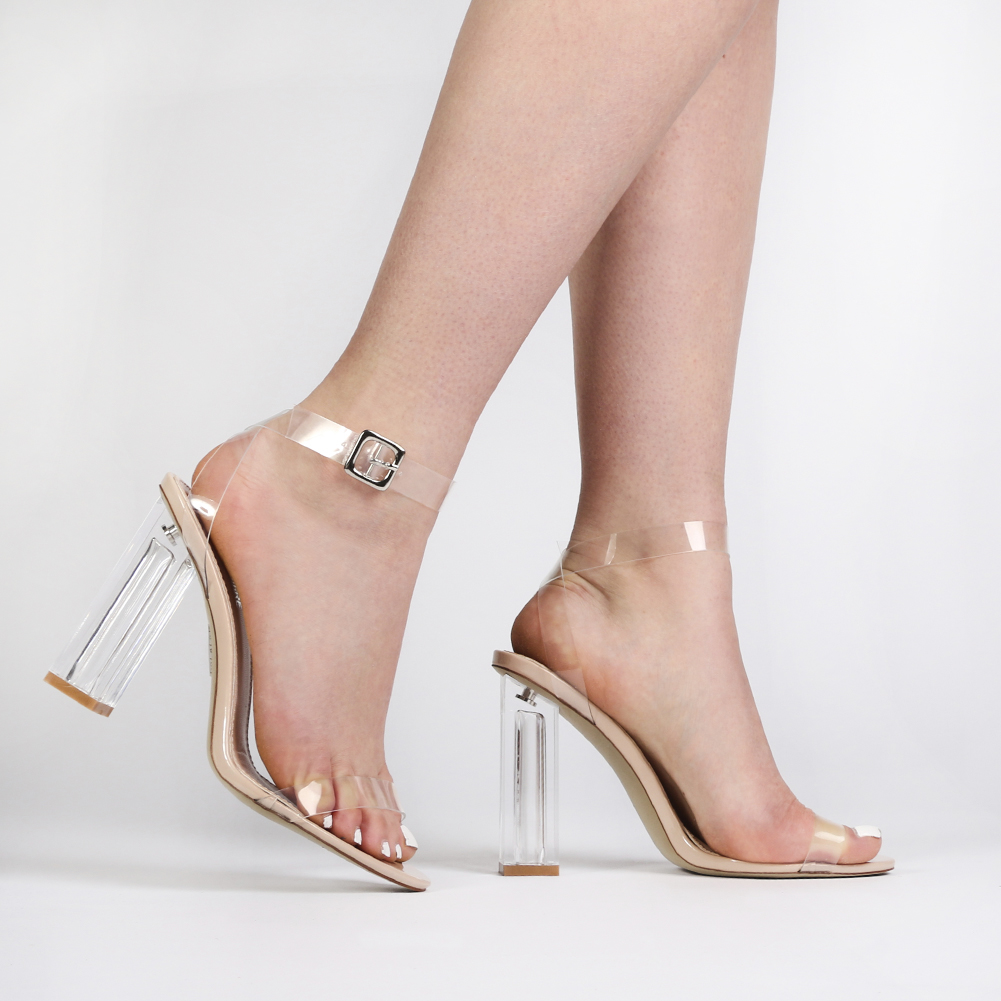 Strappy Perspex High Heels in Clear Nude