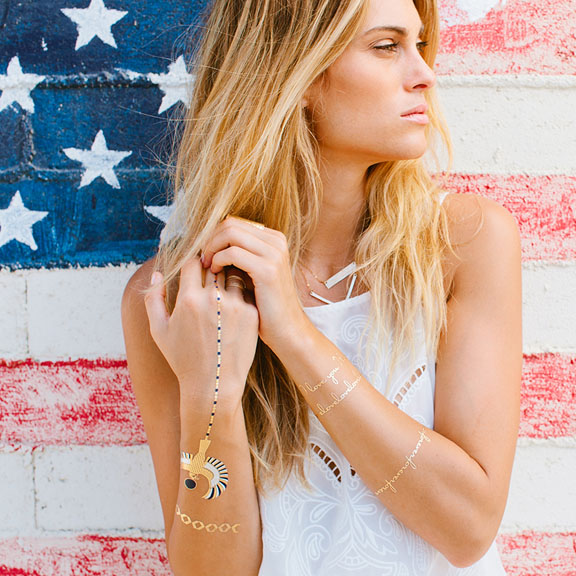Metallic gold and silver temporary jewelry tattoos designed by lulu dk.