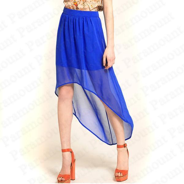 Hi High Low Ladies Chiffon DIP Back Hem Sheer Skirt Womens Size 8 14 | eBay