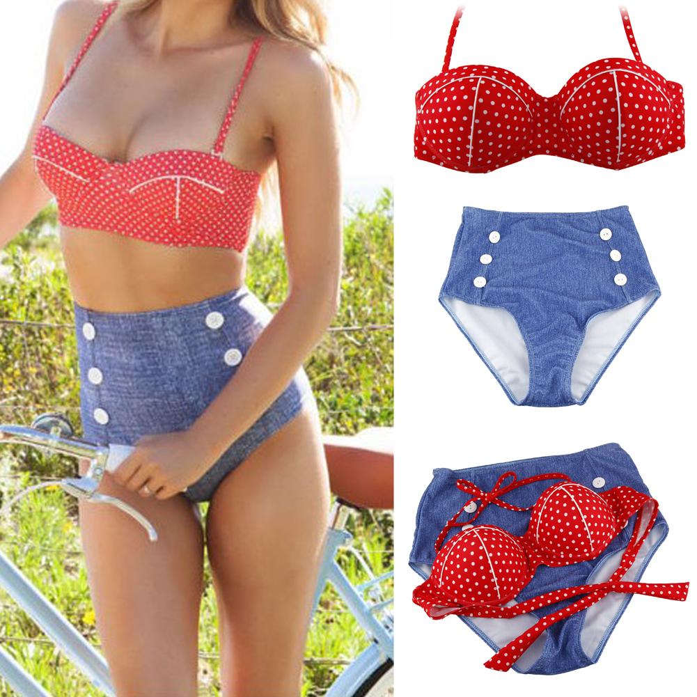Sexy Cute Retro High Waist Vintage Push Up Bandeau Bikini Swimsuit Swimwear Set | eBay