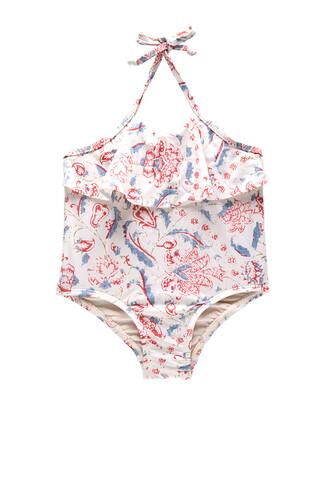 one piece swimsuit flare white swimwear