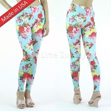 Sweet Chic Light Blue Floral Retro Flower Print Pattern Leggings Tights Pants