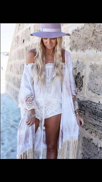 romper cardigan white cute beach boho neutrals white dress cute dress boho chic bohemian jewelry make-up hat sweater