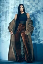 pants,velvet,coat,kim kardashian,kardashians,editorial,top,bodysuit