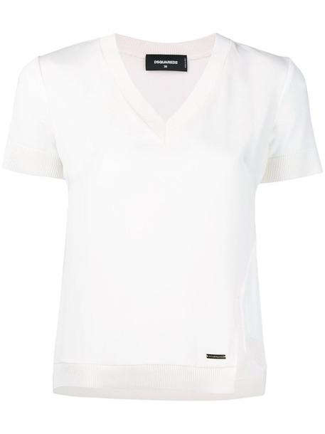 Dsquared2 - rib trimmed T-shirt - women - Silk/Viscose - 40, White, Silk/Viscose