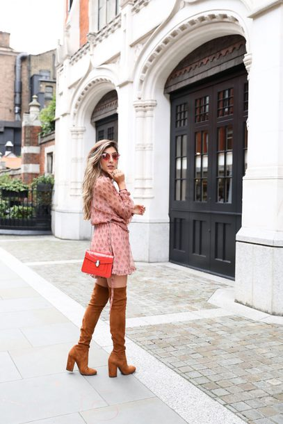 romper tumblr long sleeve romper pink romper boots brown boots over the knee boots over the knee suede suede boots bag red bag