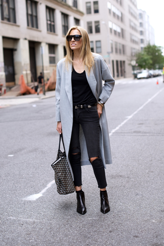 mind body swag blogger grey coat long coat fall coat black ripped jeans tote bag wool coat
