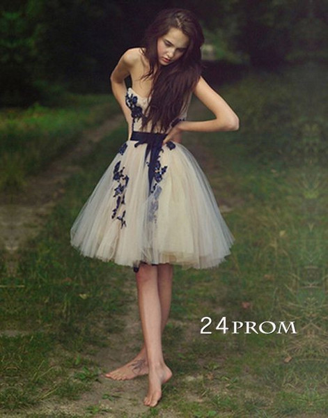 Lace appliques sweetheart prom dress/homecoming dress