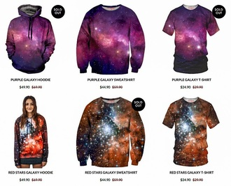 top hoodie sweater sweatshirt jumper t-shirt purpure graphic tee galaxy print galaxy sweater style