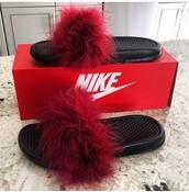 shoes,slide shoes,slippers,nike,fluffy,red,flip-flops,nike sliders,girl