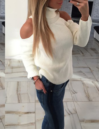 sweater zefinka off the shoulder off the shoulder sweater cute sexy white sweater cozy warm outfit fall outfits winter outfits fall sweater autumn/winter tumblr clothes naked shoulder trendy outfit idea girly