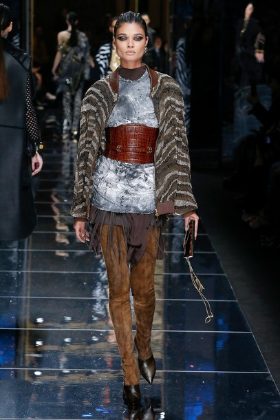 belt daniela braga jacket Paris Fashion Week 2017 fashion week 2017 runway dress balmain