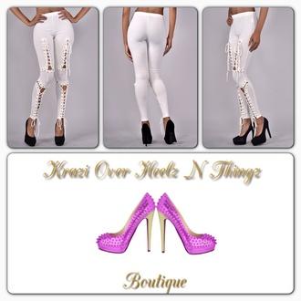 tie up white pants white leggings women leggings tie up leggings leggings white tie up sexy leggings