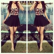 skirt,floral,pool,brunette,split image,black skirt,grey heels,high waisted skirt,tank top