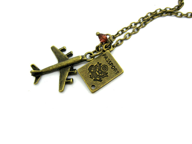 Passport airplane travel necklace charm pendant nw743