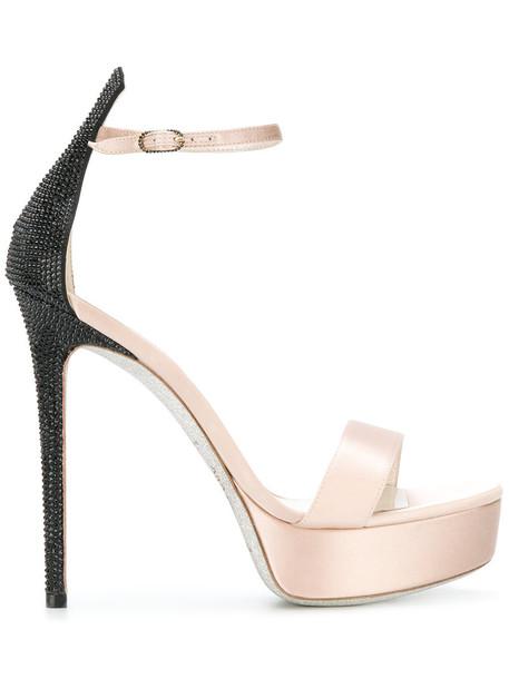 René Caovilla women embellished sandals platform sandals leather silk purple pink satin shoes