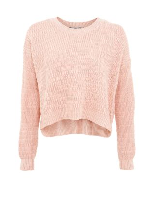 Pink Textured Knit Crop Jumper