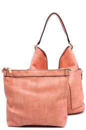 bag,mauve,gold,zip,shoulder bag,handbag,2-in-1 bag