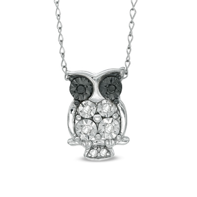 "TEENYTINY® Enhanced Black and White Diamond Accent Owl Pendant in Sterling Silver - 17"" - View All Necklaces - Zales"