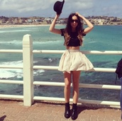 skirt,black,hat,crop tops,peach,heels,top,shoes,boots,sunglasses,brown,puffy,lovely