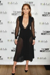 jennifer lopez,pumps,v neck dress,see through dress,black dress,dress,shoes