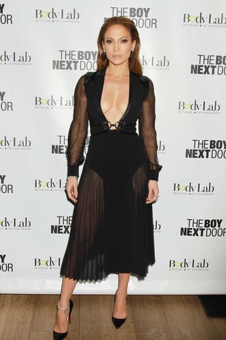 jennifer lopez pumps v neck dress see through dress black dress dress shoes