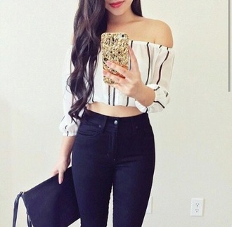 blouse strapless strapless top stripes striped top crop tops balck and white black and white blouse black white
