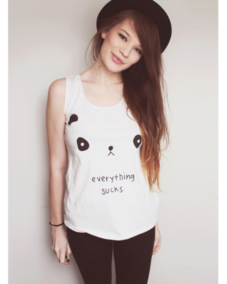 leggings cute t-shirt cool panda hat hipster summer outfits quote on it emo
