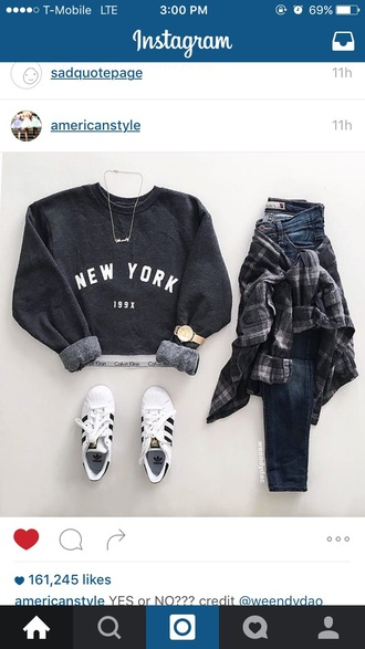 top grey black tumblr new york city blue skinny jeans flannel adidas necklace