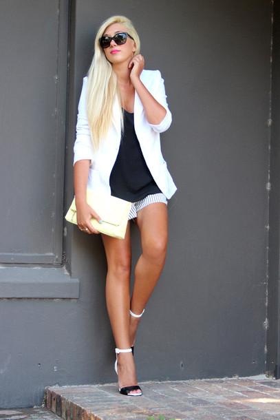 superficial girls blogger shorts blazer black top sandals pouch