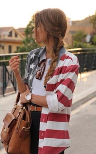 jacket american flag july 4th red white blue america stripes denim jacket bag