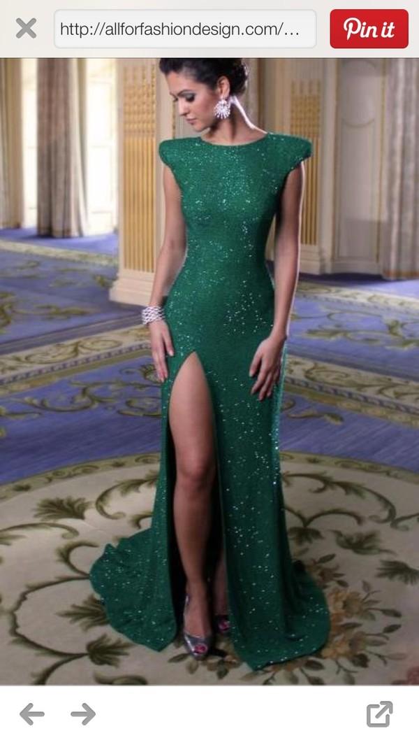 dress green sparkle shoulder pads slit prom dress evening dress gown