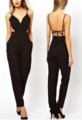 Splicing Halter Jumpsuit  - Juicy Wardrobe
