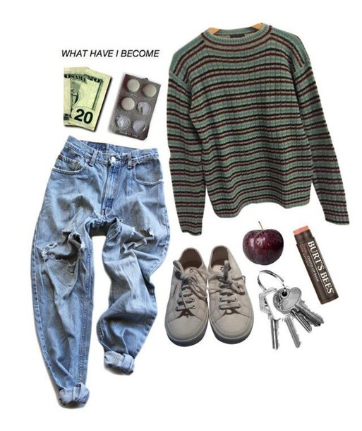 Shirt Tumblr Grunge Soft Hipster Clothes Fashion Jeans Pants Boyfriend Vintage Sweater Striped