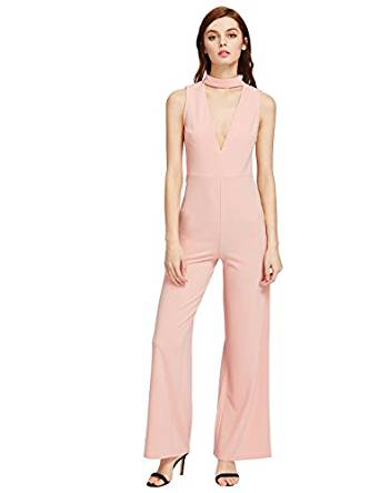 Amazon.com: MakeMeChic Women's Sexy Deep V Neck Sleeveless Wide Leg Loose Jumpsuits Rompers: Clothing
