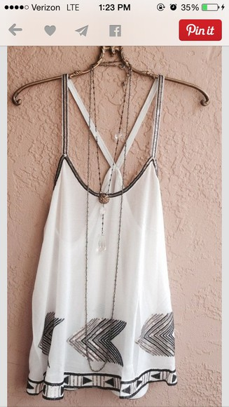 shirt tank top cute white black flowy urban style arrow