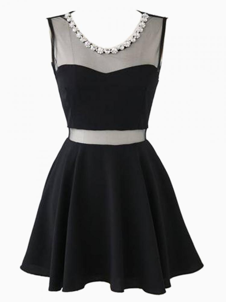 Mesh insert skater dress with rhinestone neckline