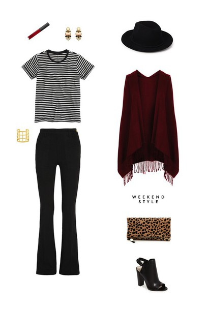 sequins and stripes blogger hat flare pants striped top peep toe heels poncho jewels t-shirt bag shoes