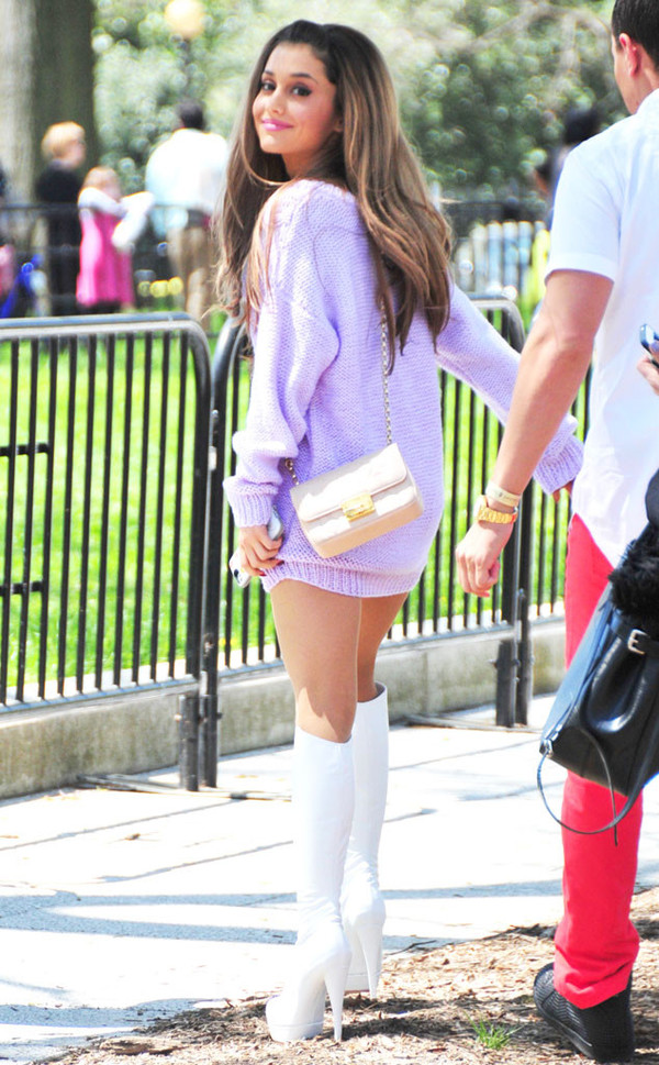 ariana grande pastel purple pastel purple shoes sweater boots