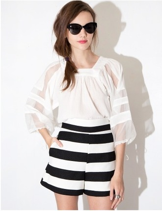 shorts cute black and white black and white shorts summer shorts spring shorts stipes striped shorts high waisted shorts pixie market pixie market girl
