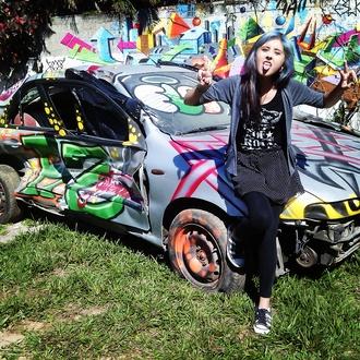 skirt lyzz flores colorful teenagers car hair dye punk grimes