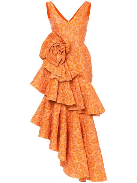 Bambah gown women silk yellow orange dress