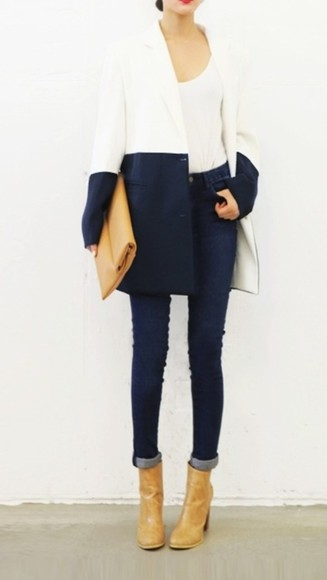 navy coat color block elegant