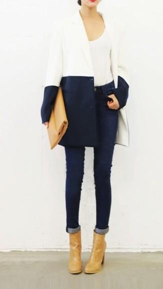 color block coat navy elegant
