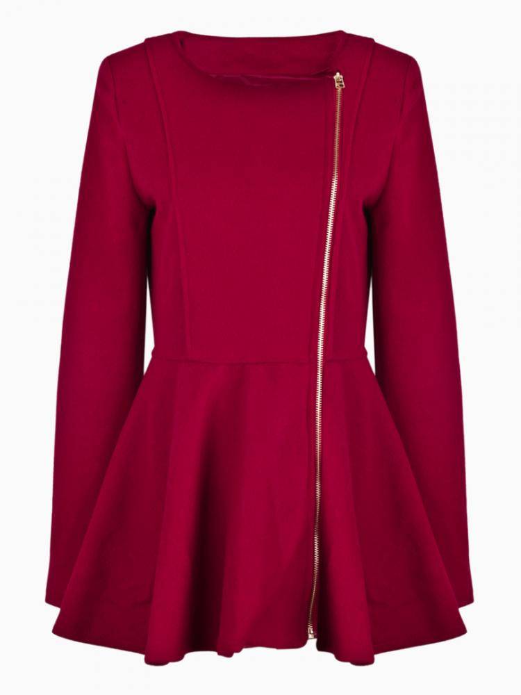 Zipper Wool Swing Coat In Red | Choies