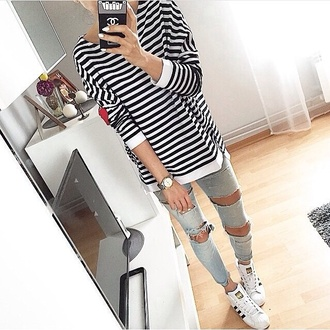 sweater black and white polyester jeans shirt nail polish